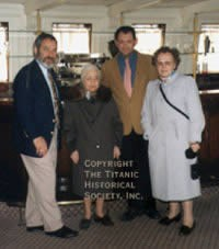 Onboard Nomadic in the Seine. Louise Laroche stepped aboard the tender in March 1995 for the first time since 1912 when Nomadic transported her and her family from the quay in Cherbourg to Titanic awaiting in the harbor. Left to right: Michael Rudd, organizer of THS's Titanic Heritage Tours, Louise Laroche, Olivier Mendez and Claudine Laroche.