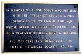 The first plaque placed on Titanic to honor those who died