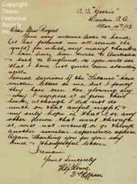 Handwritten letter by Titanic's fifth officer Lowe