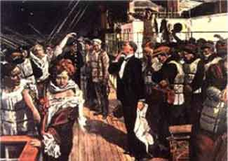 Painting showing passengers waiting to board lifeboats