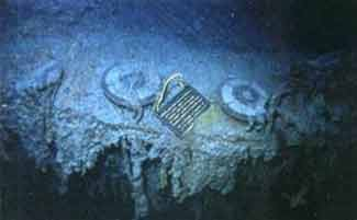 THS plaque placed by Ballard in 1986 on Titanic stern