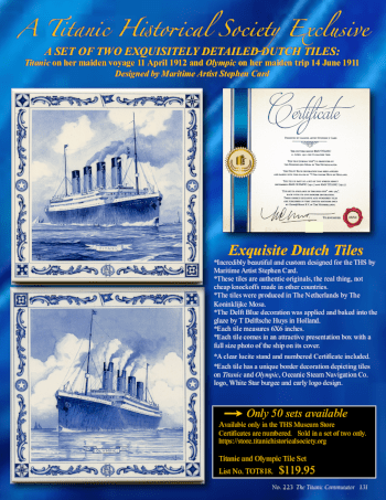 A Titanic Historical Society Exclusive - A SET OF TWO EXQUISITELY DETAILED DUTCH TILES: Titanic on her maiden voyage 11 April 1912 and Olympic on her maiden trip 14 June 1911 Designed by Maritime Artist Stephen Card